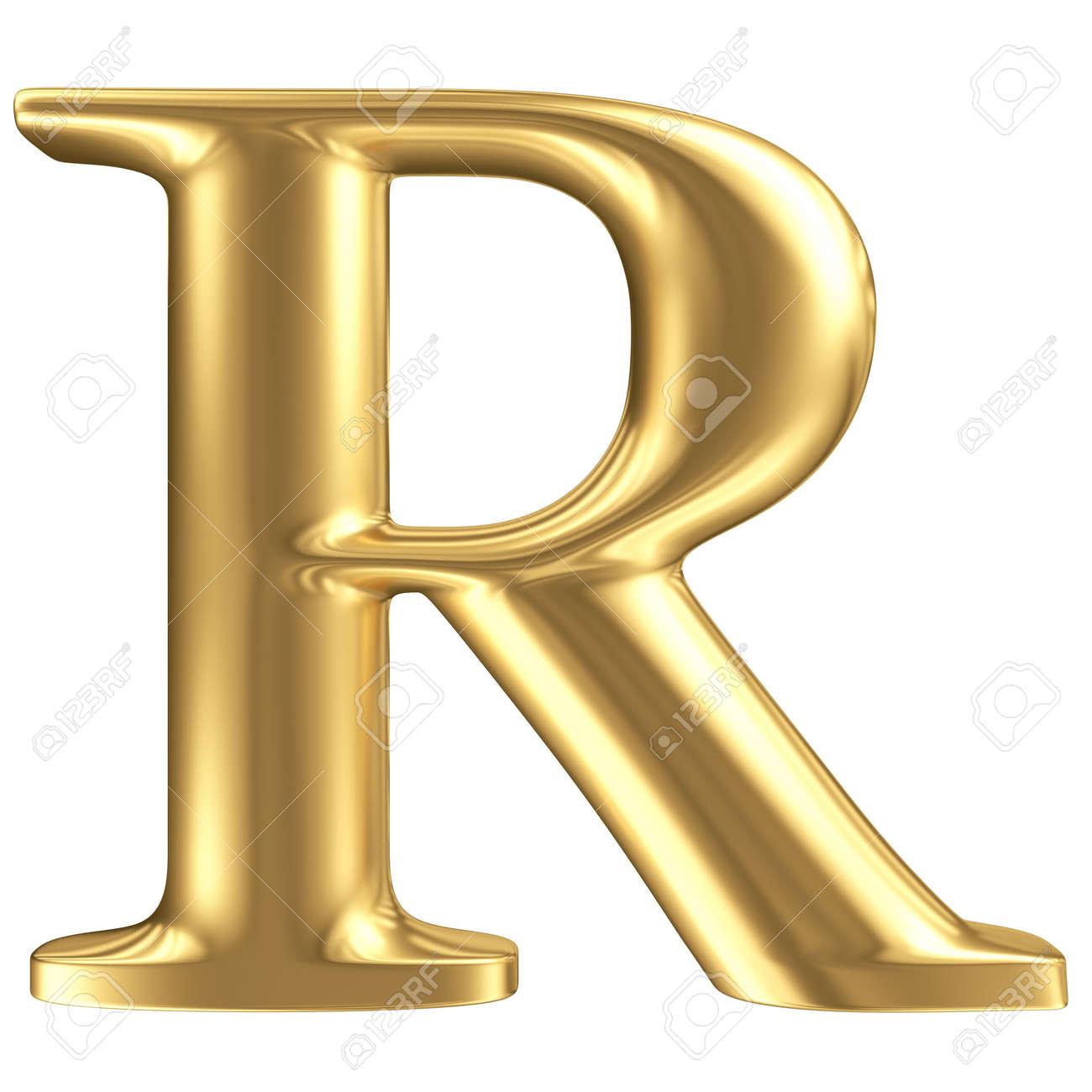 Golden Matt Letter R Jewellery Font Collection Stock Photo