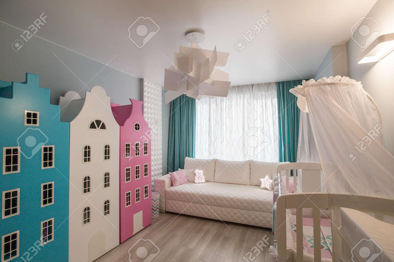Interior of a childrens room modern furniture. kindergarten.. stock