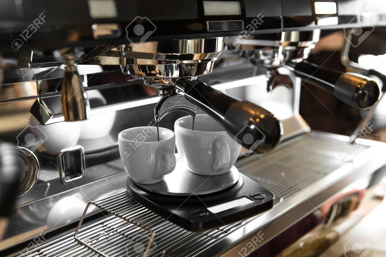 Italian Espresso Machine On A Counter In A Restaurant Dispensing