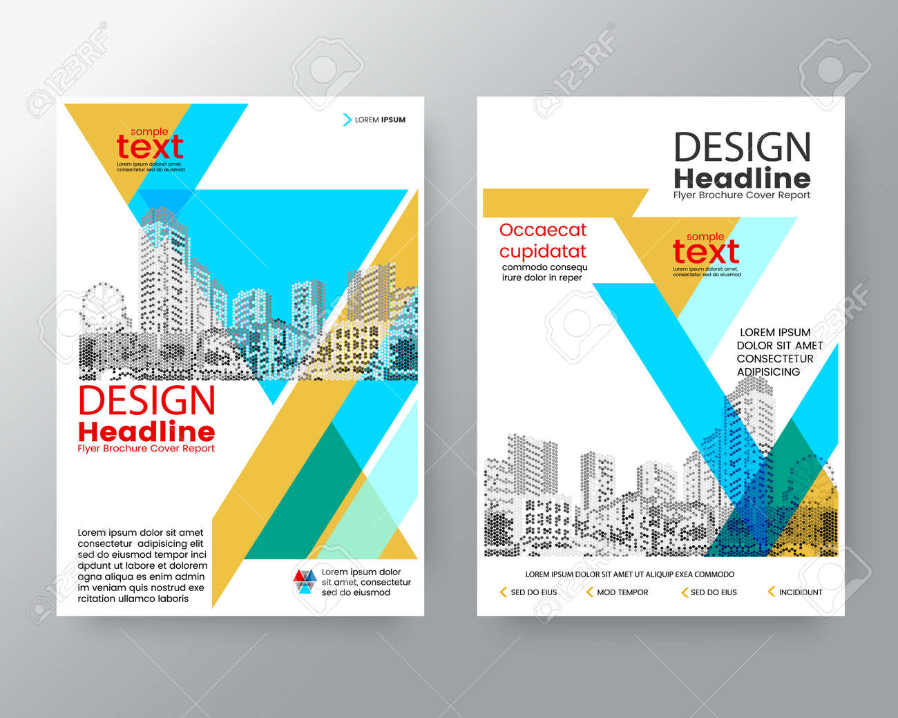 Abstract Blue Yellow Diagonal Brochure Annual Report Cover Flyer Poster Design Layout Vector Template In