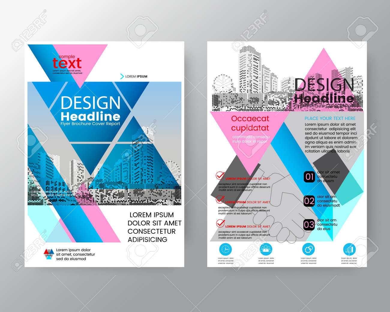 Abstract Pink And Blue Triangle Brochure Annual Report Cover Flyer Poster Design Layout Vector Template In