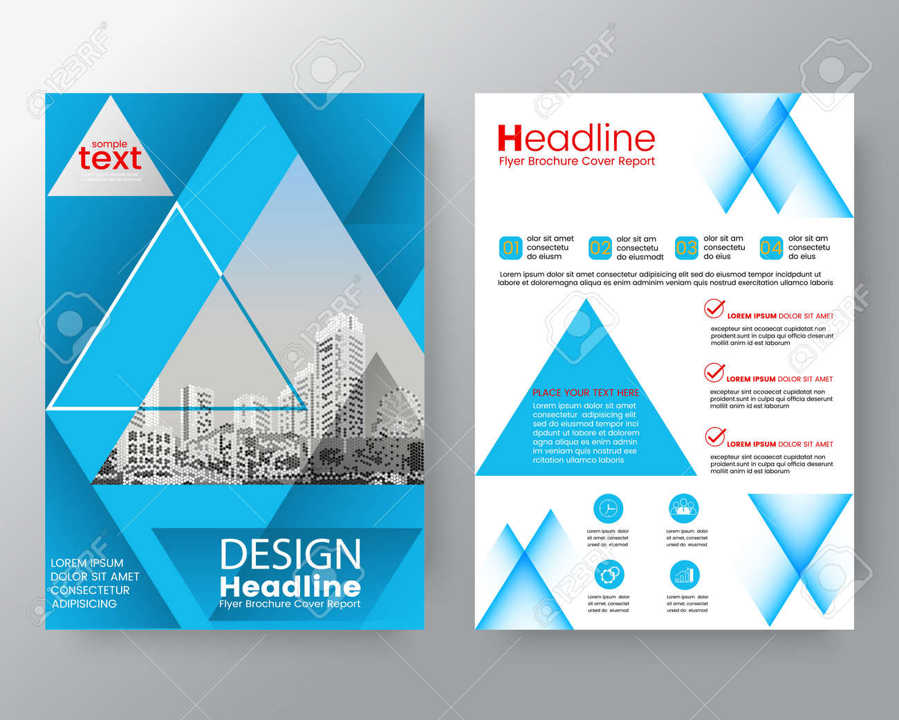 Abstract Blue Triangle Brochure Annual Report Cover Flyer Poster Design Layout Vector Template In A4 Size