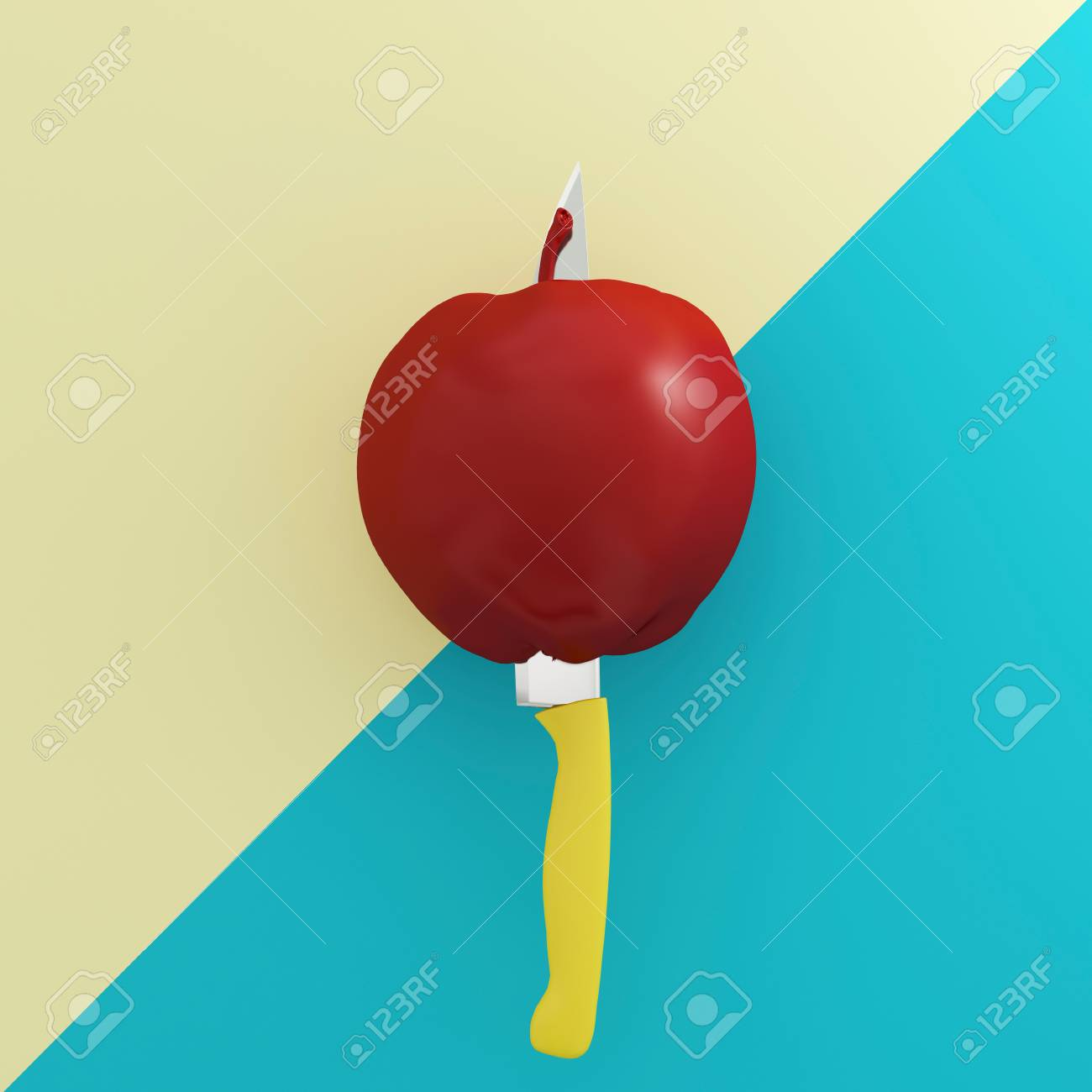 Creative Concept : Red Apple Impaled On Stainless Kitchen Knives ...