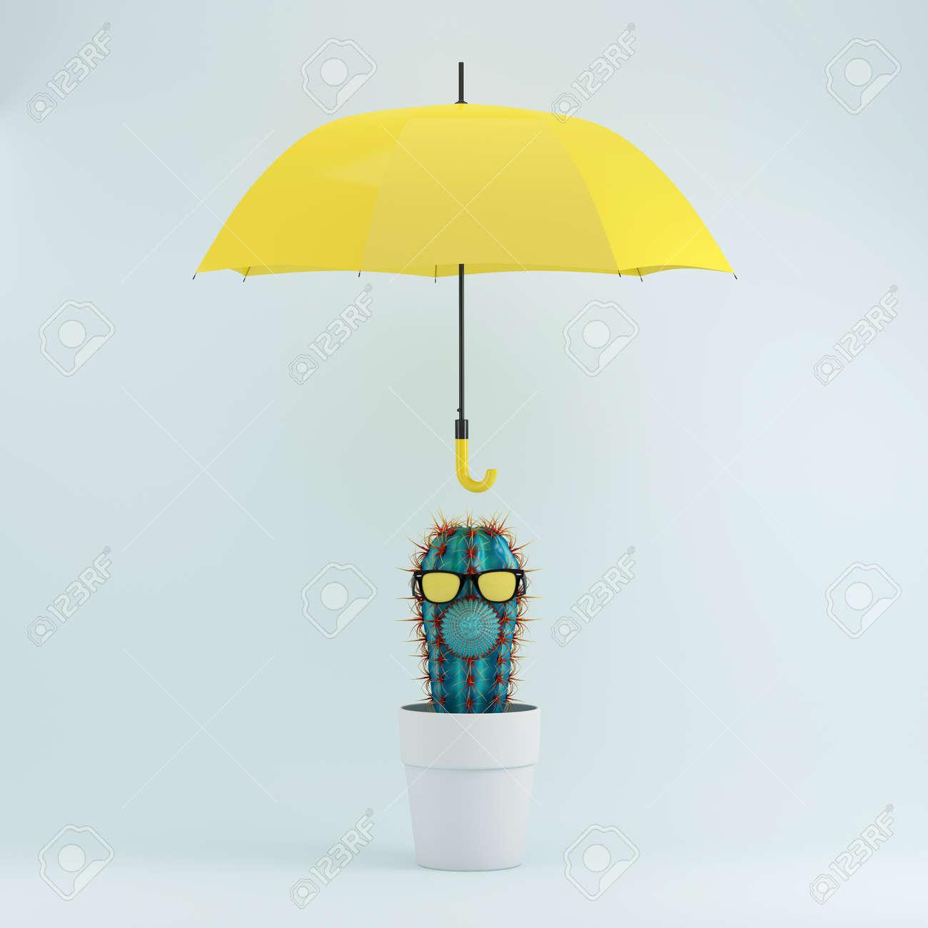 Venta de liquidación el más nuevo baratas para la venta Cactus en la maceta blanca con el paraguas amarillo en el fondo en colores  pastel azul, idea mínima del concepto.
