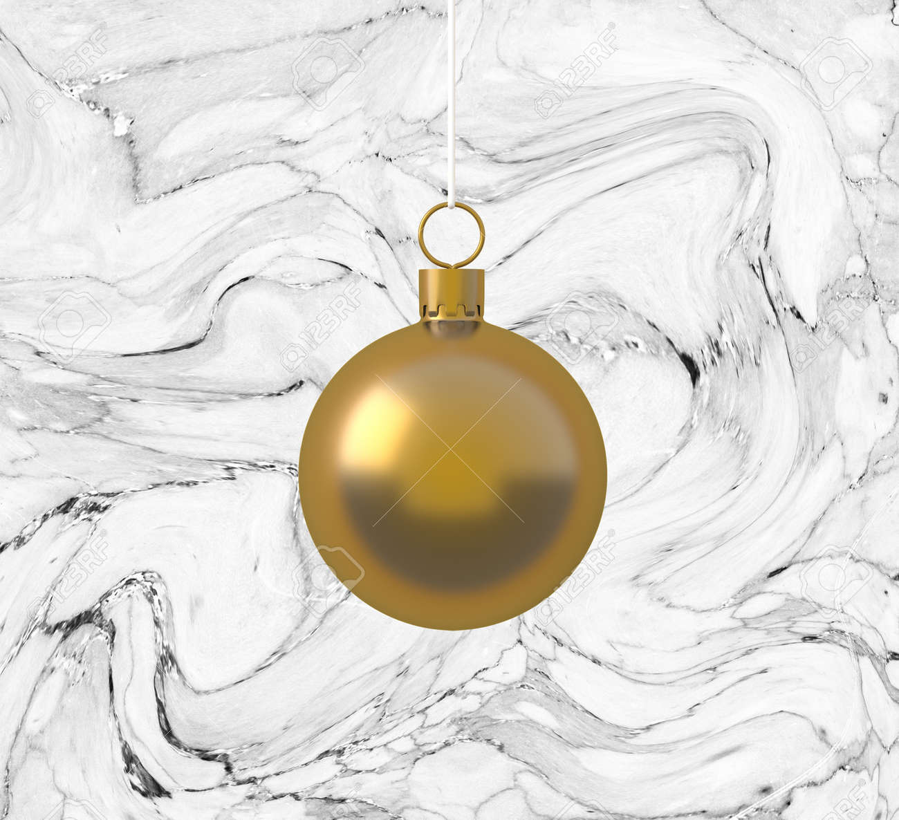 Golden christmas ball ornaments hanging on marble white background
