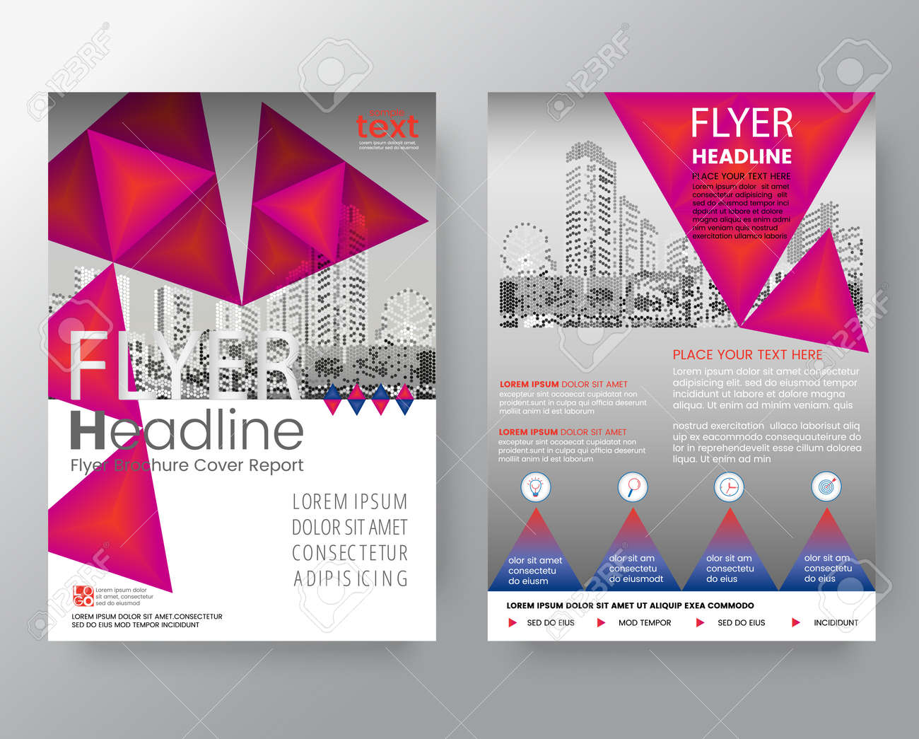 abstract pink triangle brochure annual report cover flyer poster design layout vector template in a4 size