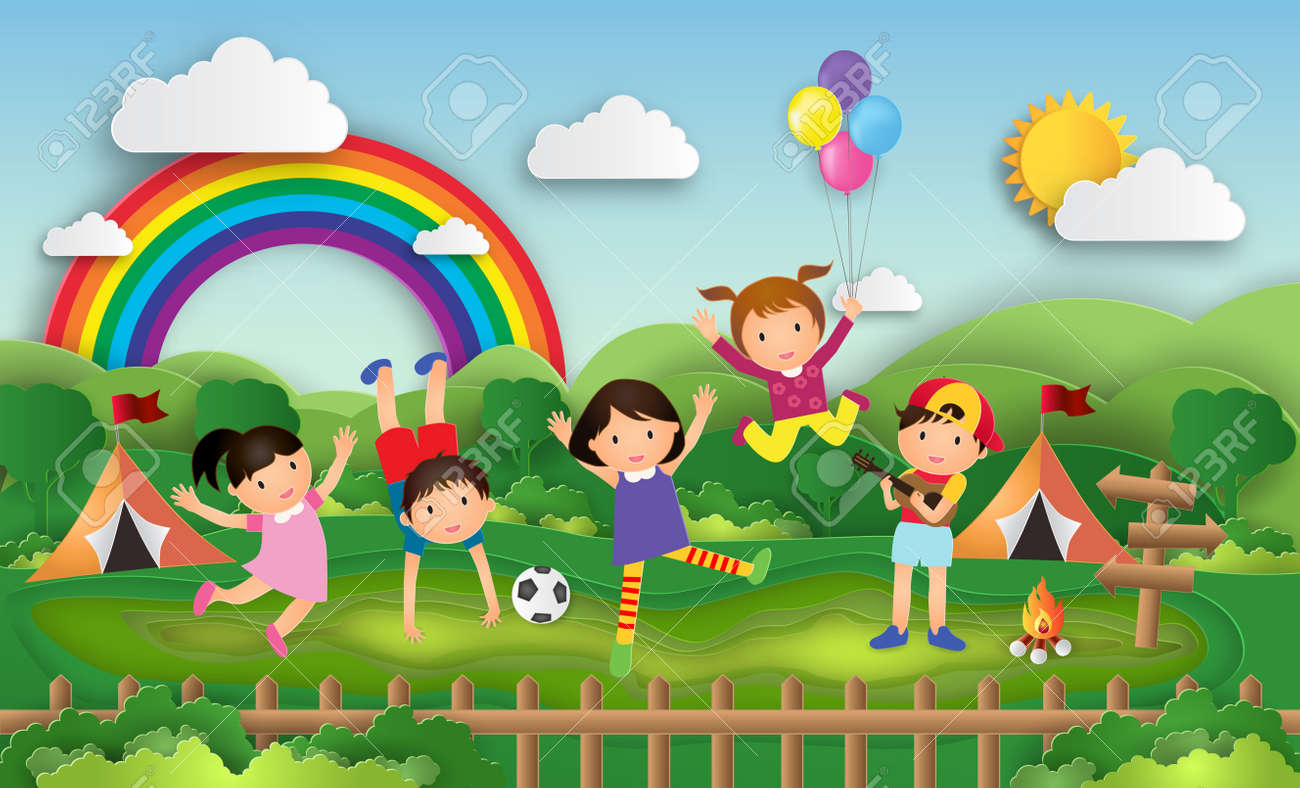 Illustration Of Kids Summer Camp Education With Children Doing