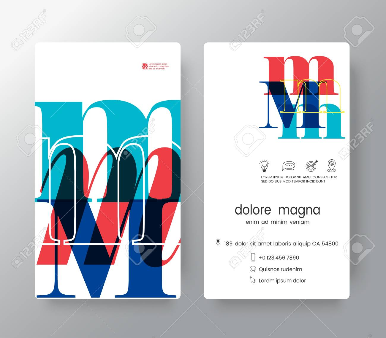 letter m business card design template vector graphic design elements for corporate identity stock