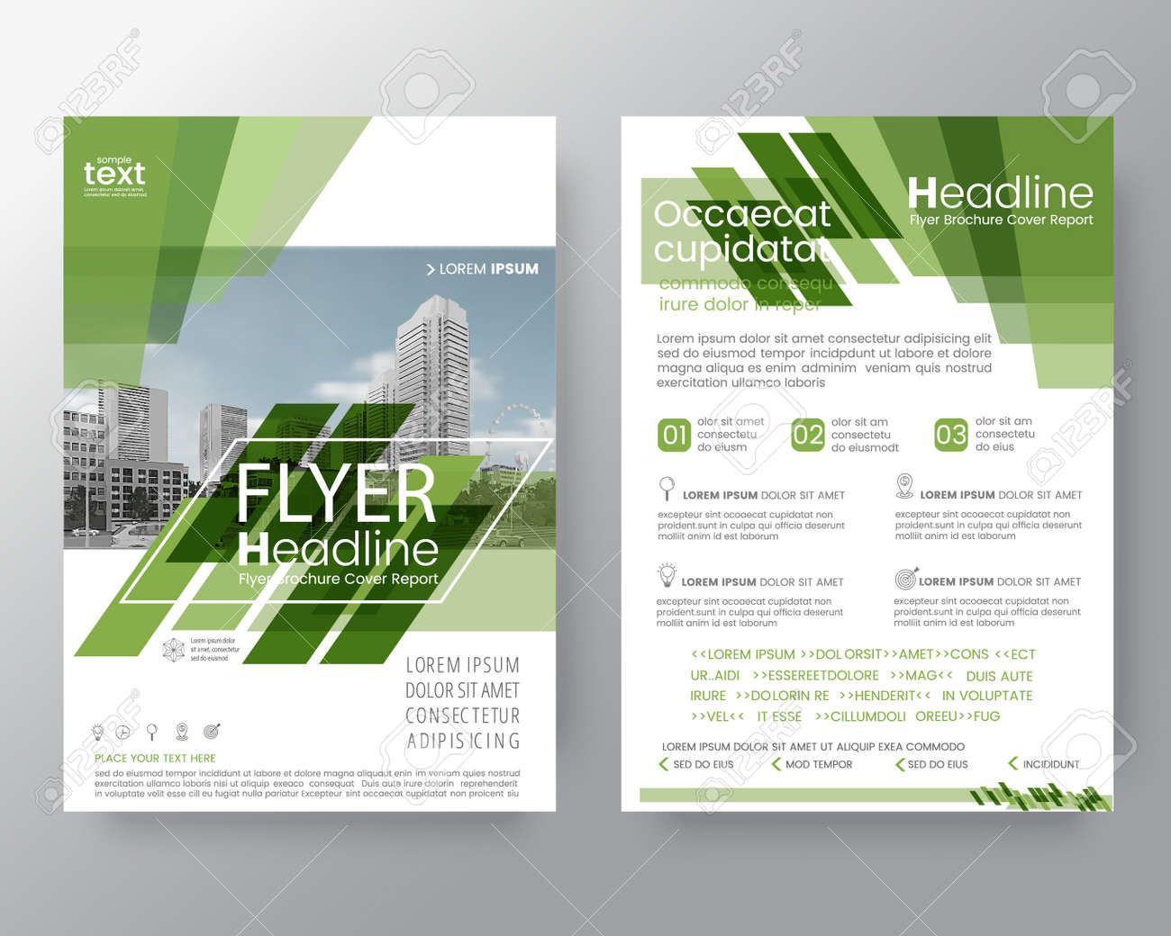 Abstract Green Diagonal Line Brochure Annual Report Cover Flyer Poster Design Layout Vector Template In A4