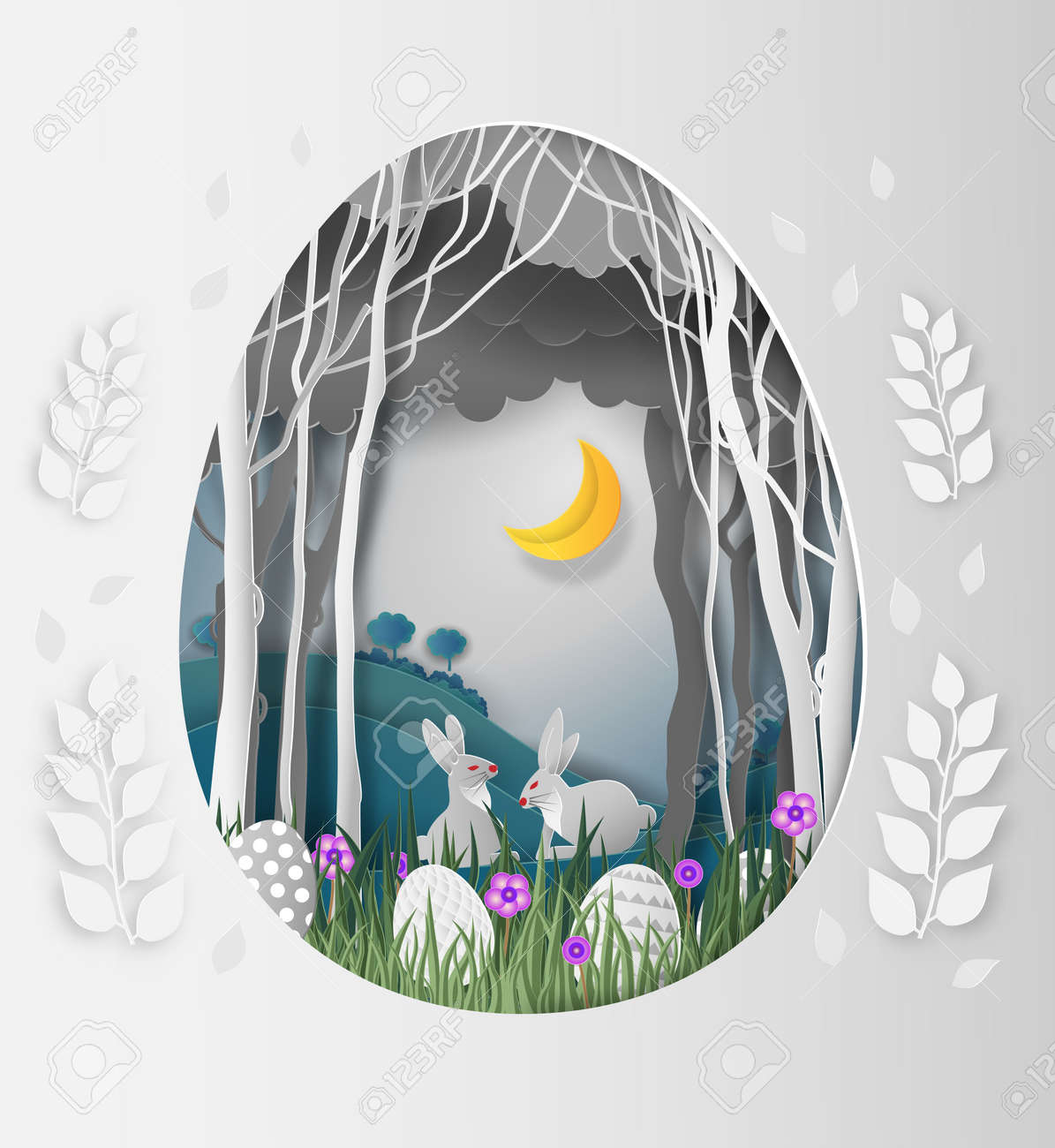 Creative ideas of Easter day, frame Egg shape of paper cut with rabbit and leaves in the forest at night and the moon. paper art and digital craft style. vector Illustration - 95966913