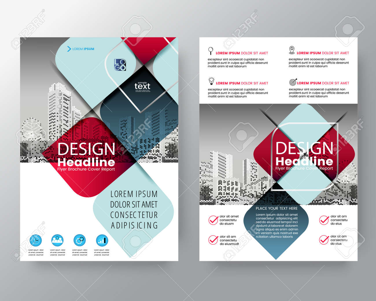 abstract red and blue cross graphic element vector brochure cover