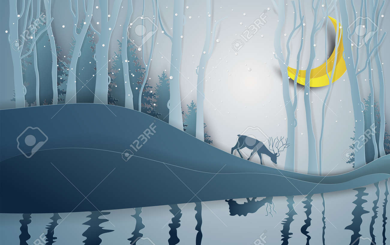 Paper art style of winter season and Christmas day deer under the view pine forest landscape with snow background. Vector illustration. - 109285095