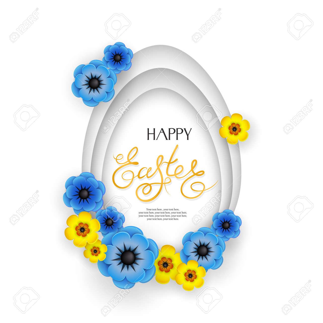 Vettoriale Buona Pasqua Priorita Bassa Astratta 3d Con L Uovo E