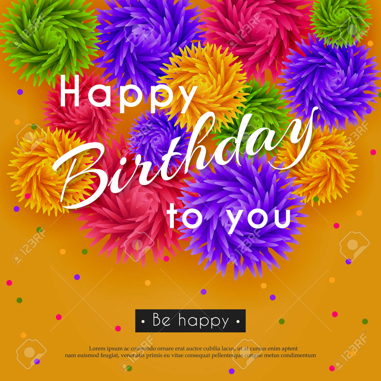 happy birthday to you. background with 3d flowers and text. paper