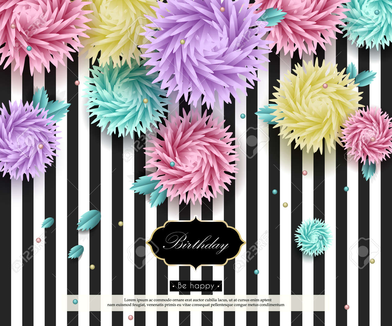 Happy Birthday To You Background With 3d Flowers And Text Paper