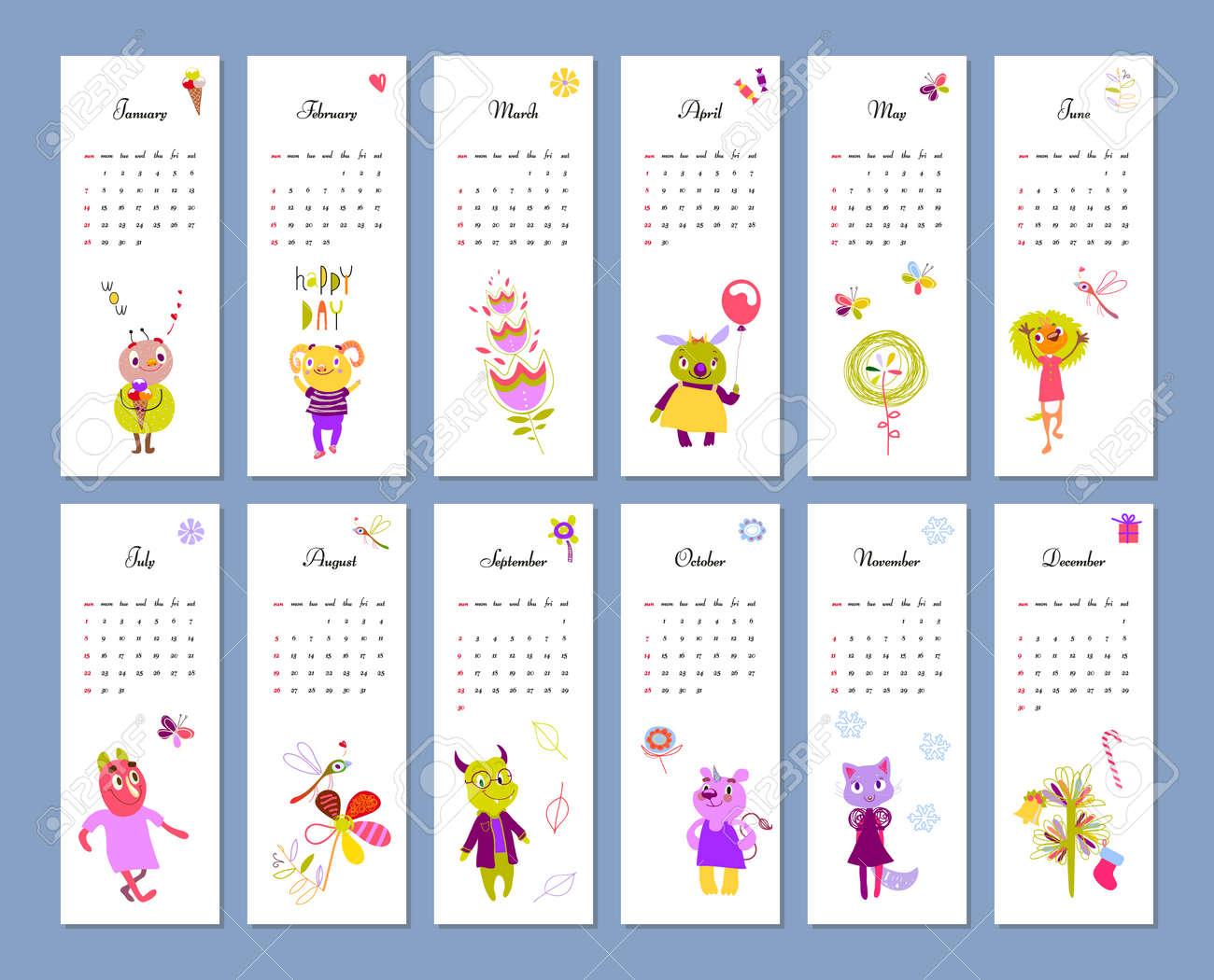Calendario Mensual Para Niños 2018 Con Monstruos Divertidos ...