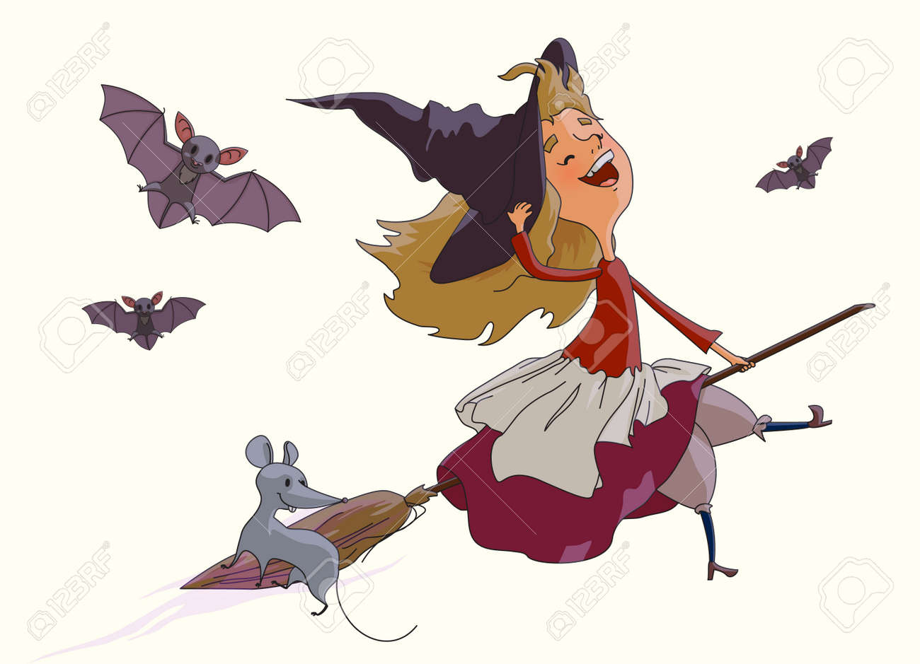 Cheerful young witch flying on a broom with a fun mouse, accompanied