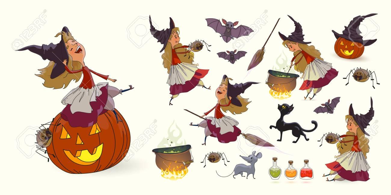 Conjunto De Ilustraciones Para Halloween. Joven Bruja Divertida ...