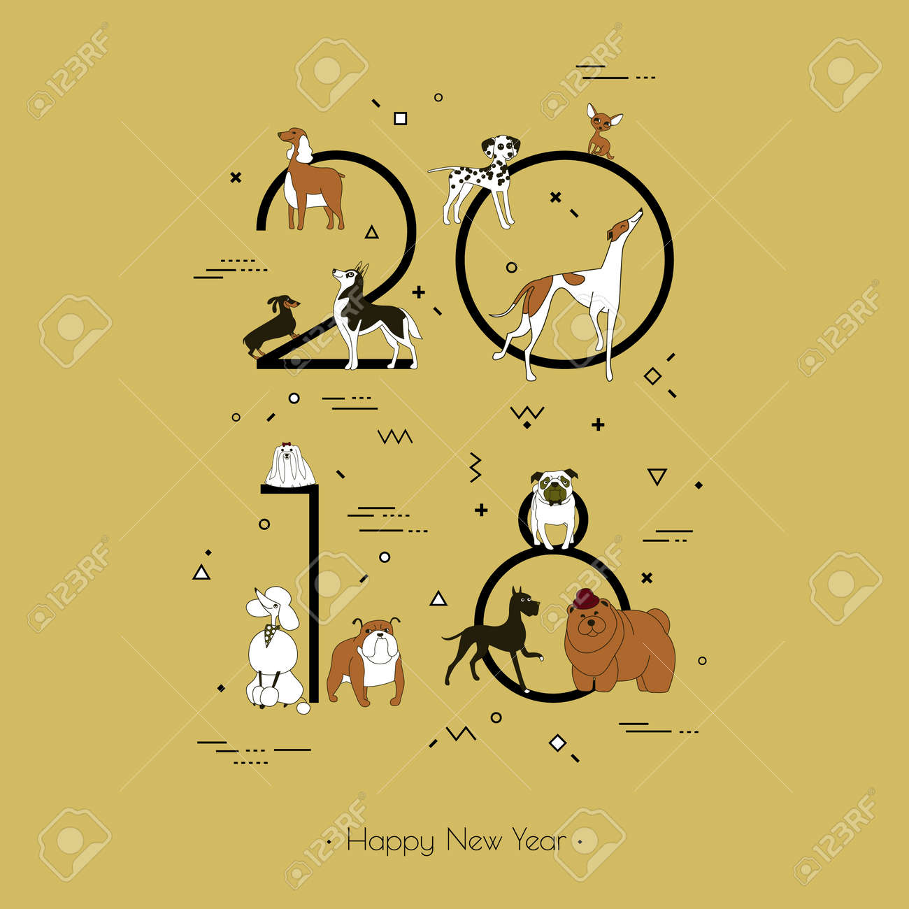 Template headline 2018 with a breed of dogs in Memphis style. Dog symbol of Chinese New Year. Vector. Black and white isolated on yellow background - 88599223