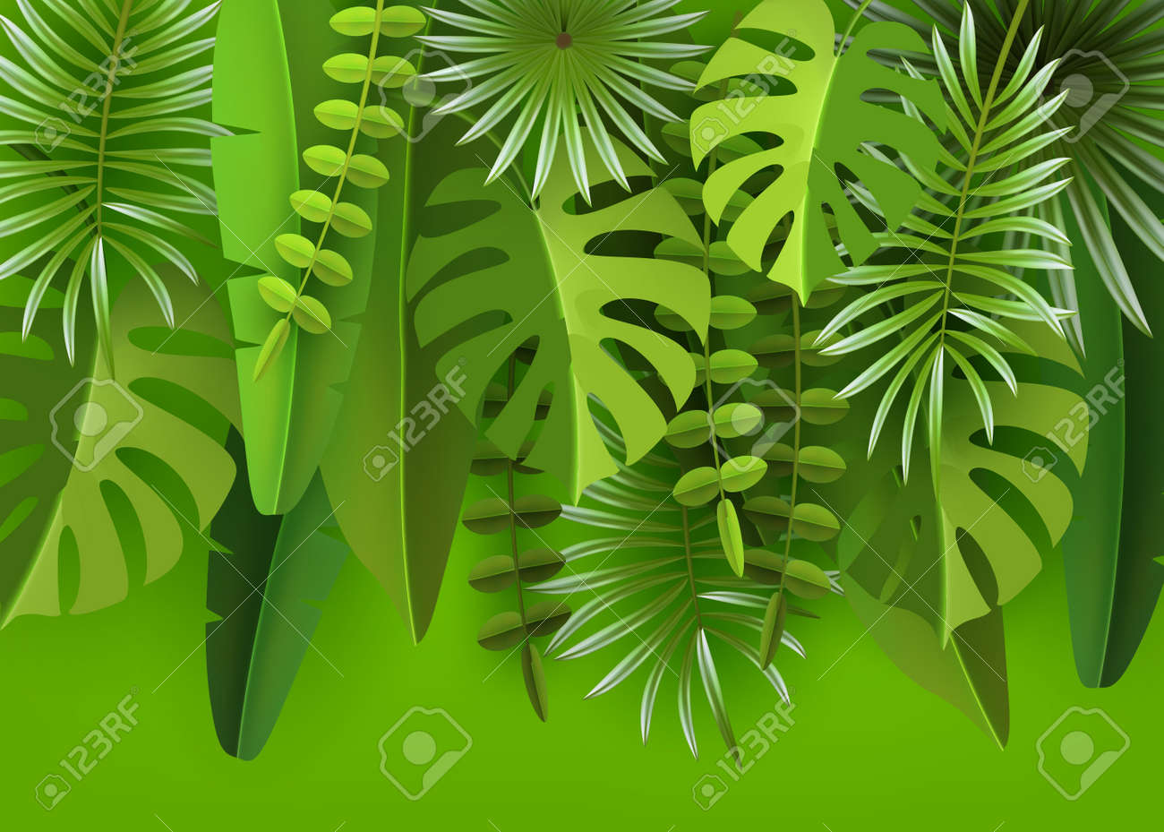 Tropical leaves and plants. Green abstract background with tropical foliage. - 96848855
