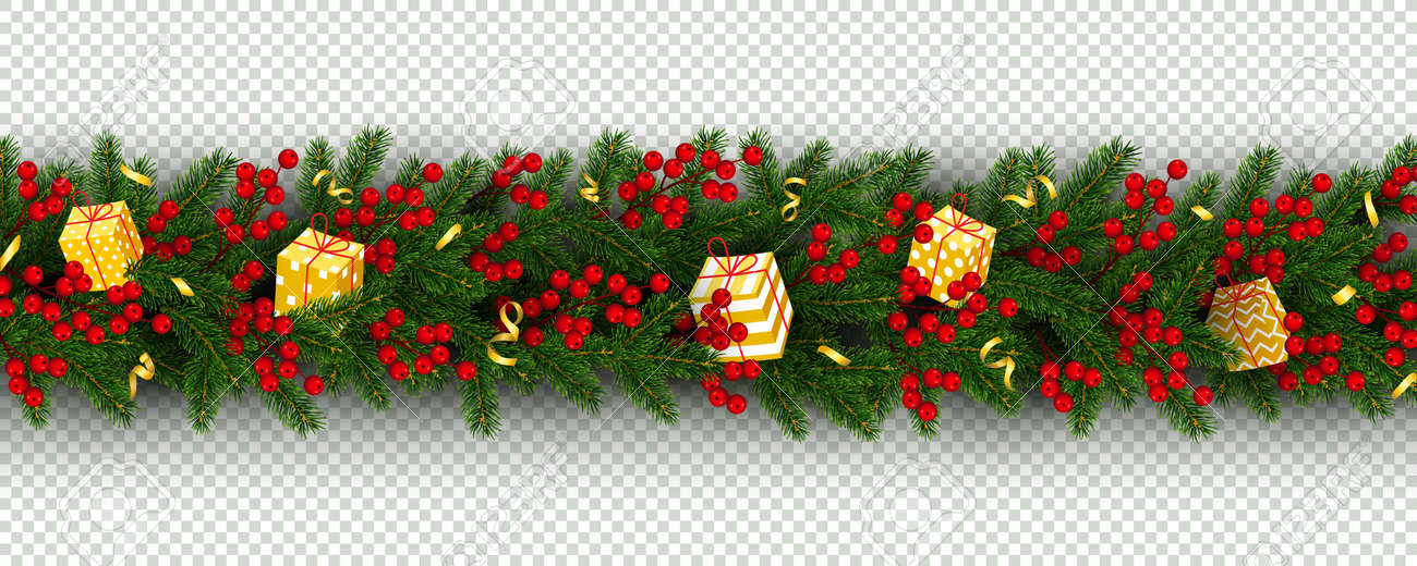 Christmas Tinsel Transparent Background.Christmas And New Year Border Of Realistic Branches Of Christmas