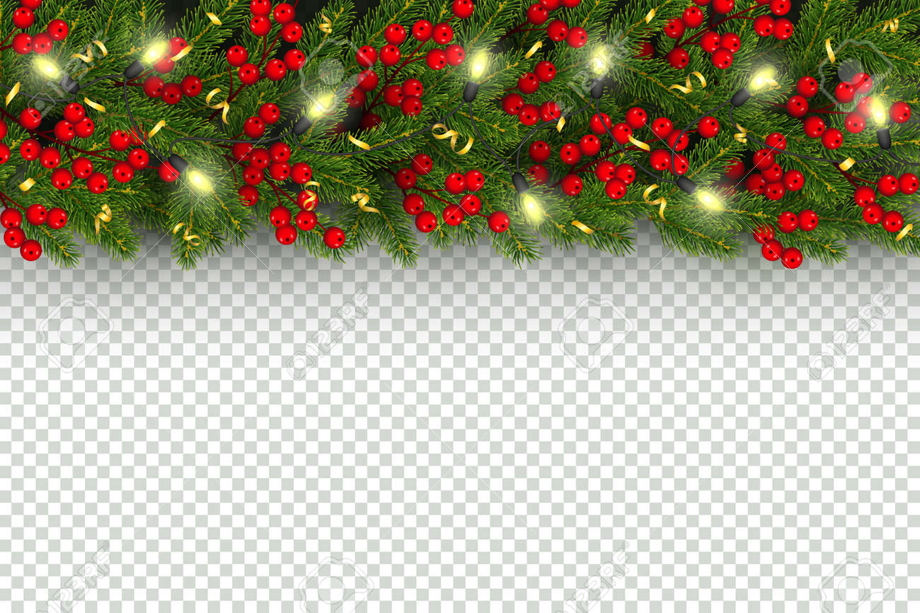 Christmas and New Year horizontal border Realistic branches of..