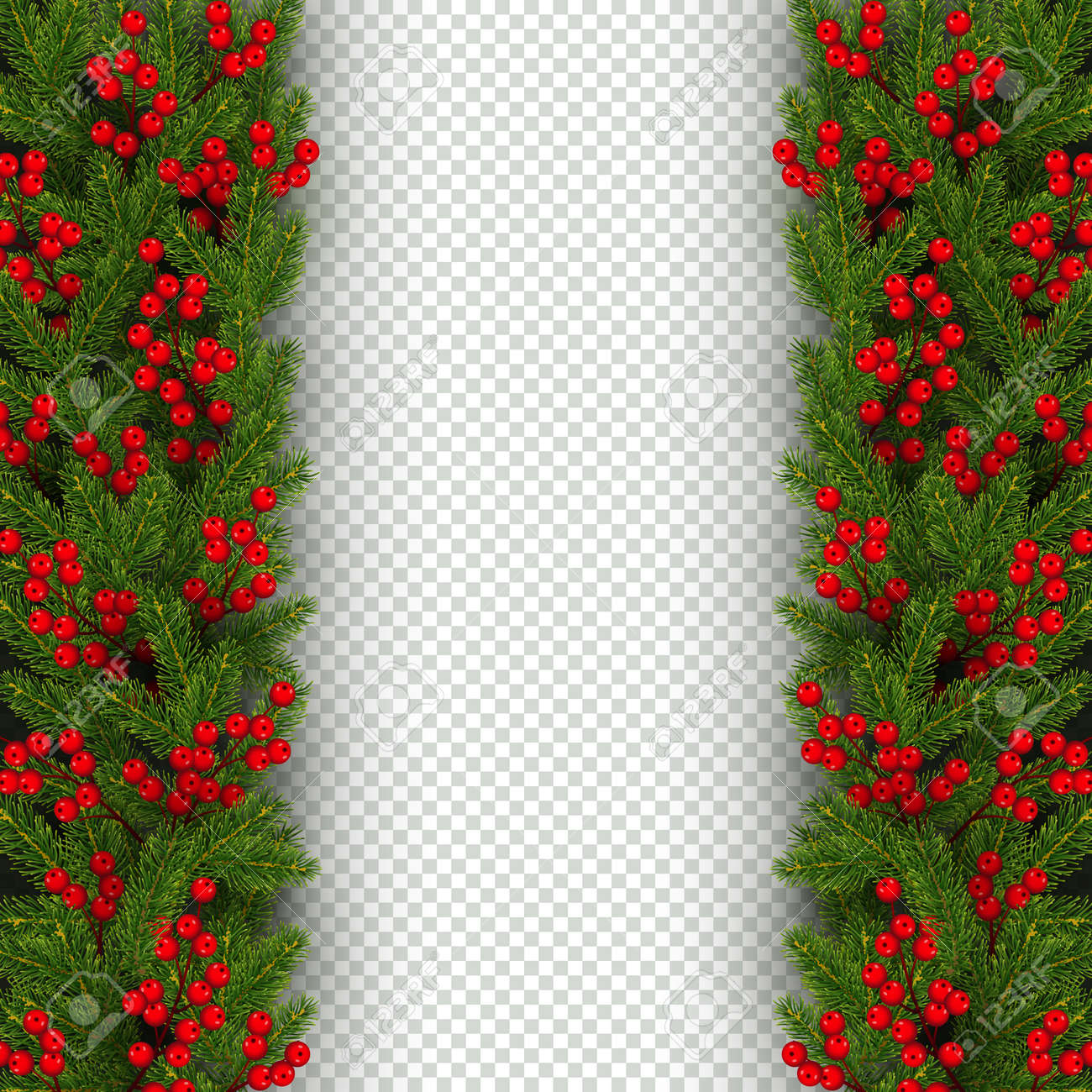 christmas and new year banner template with vertical border of realistic branches of christmas tree and