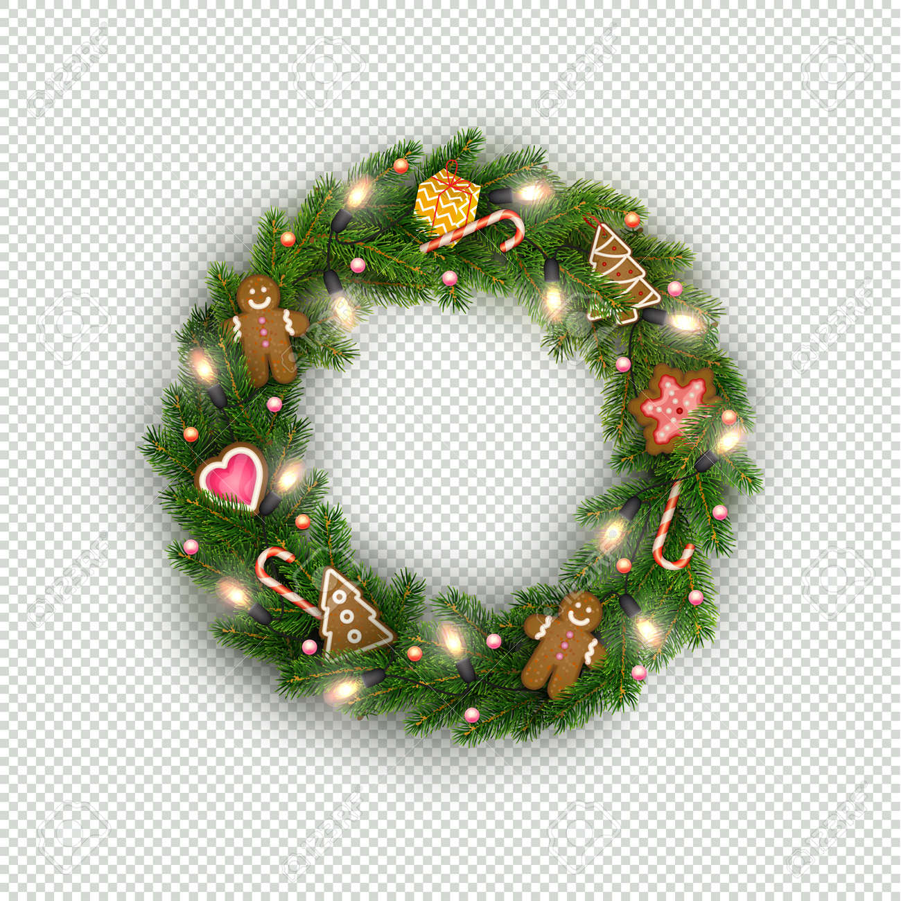 Christmas Wreath Of Realistic Christmas Tree Branches Light