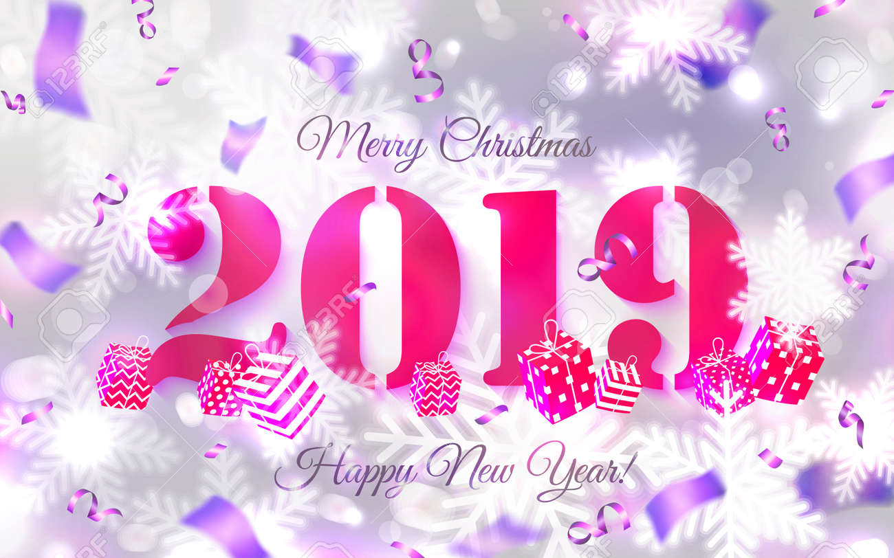 2019 abstract merry christmas and happy new year background card for 2019 with main big
