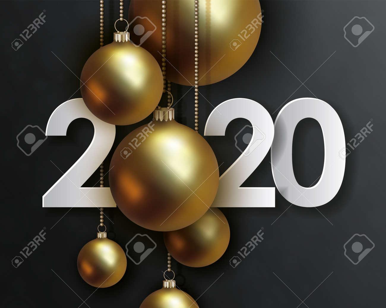 Christmas Date 2020 2020 Happy New Year, Creative Date Design. White Volumetric
