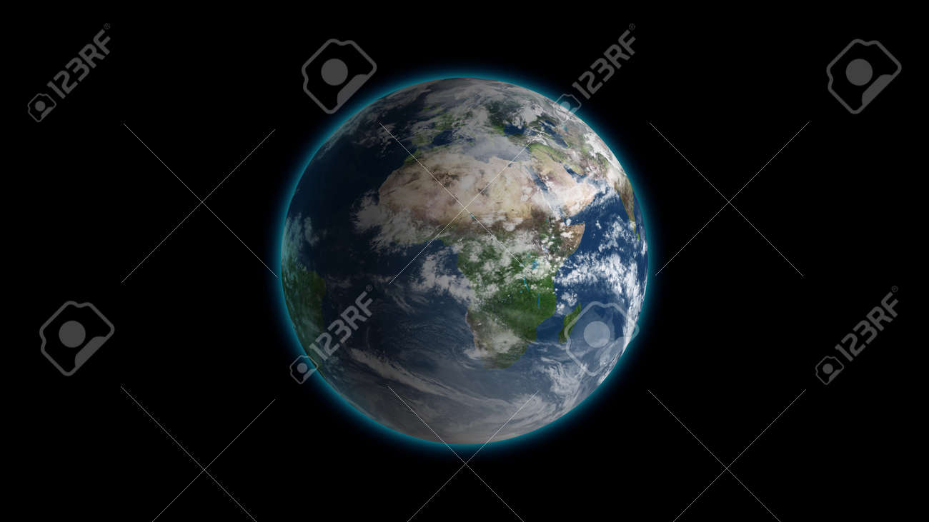 Realistic Earth Rotating on black Loop . Globe is centered in frame, with correct rotation in seamless loop. - 121991065
