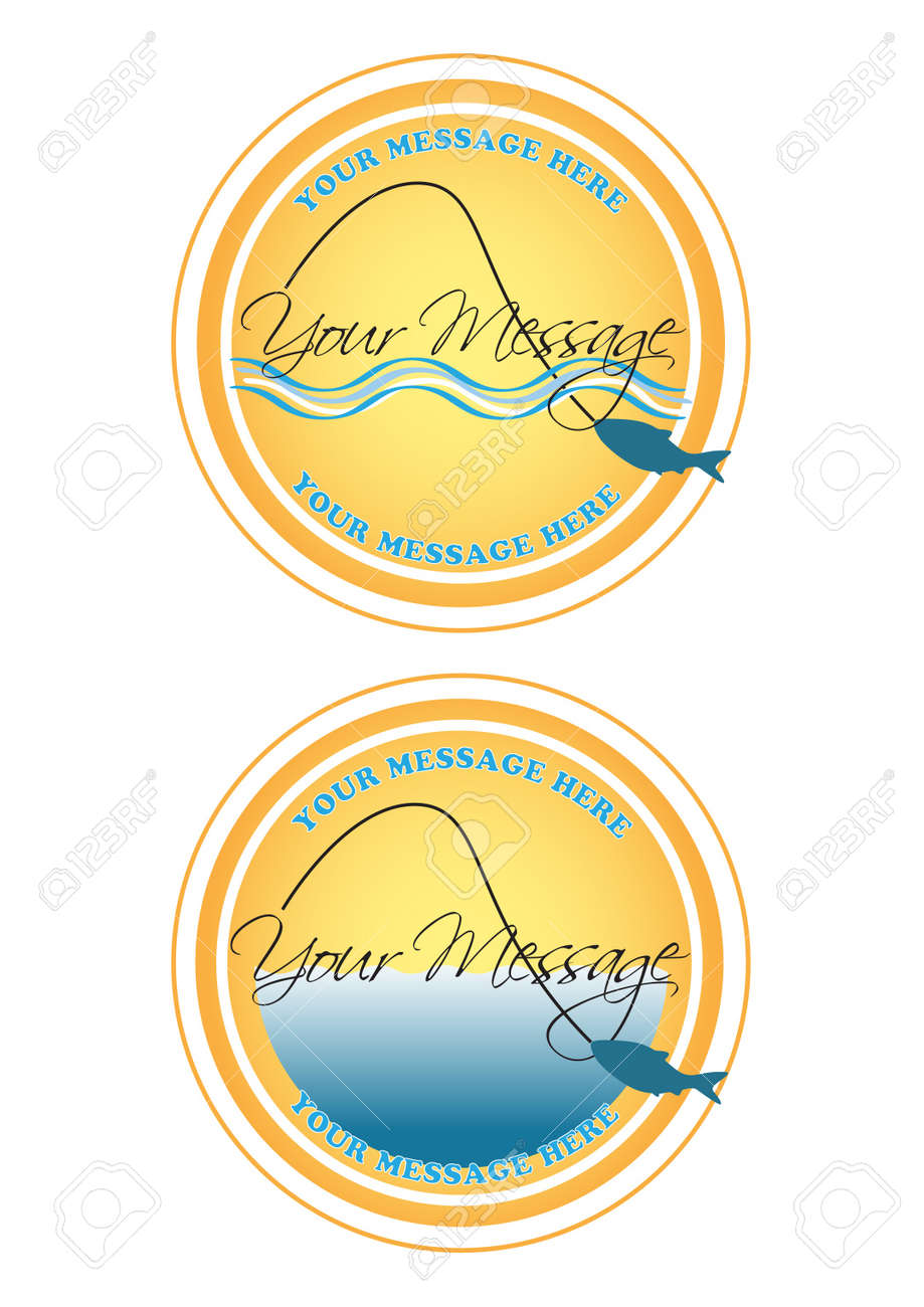 Fishing Label or Button eps 10 Stock Vector - 9703430
