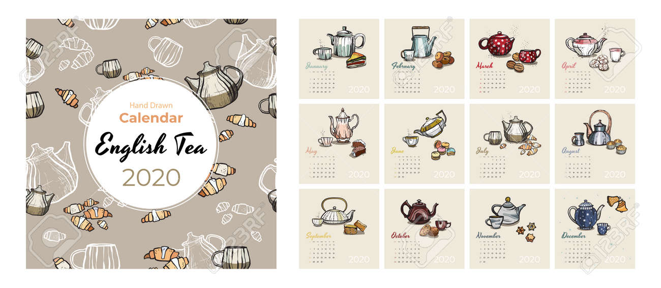 2020 calendar food and tea art vector set. Tea party sketched calendar. Set 12 month pages. Teapots, cups, cookies hand drawn vector illustration for tea, coffee shop, restaurant months 2020 template. - 146160106