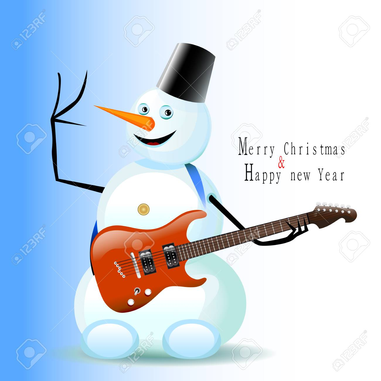Greeting christmas and new year card snowman with a guitar royalty greeting christmas and new year card snowman with a guitar stock vector 49003014 m4hsunfo