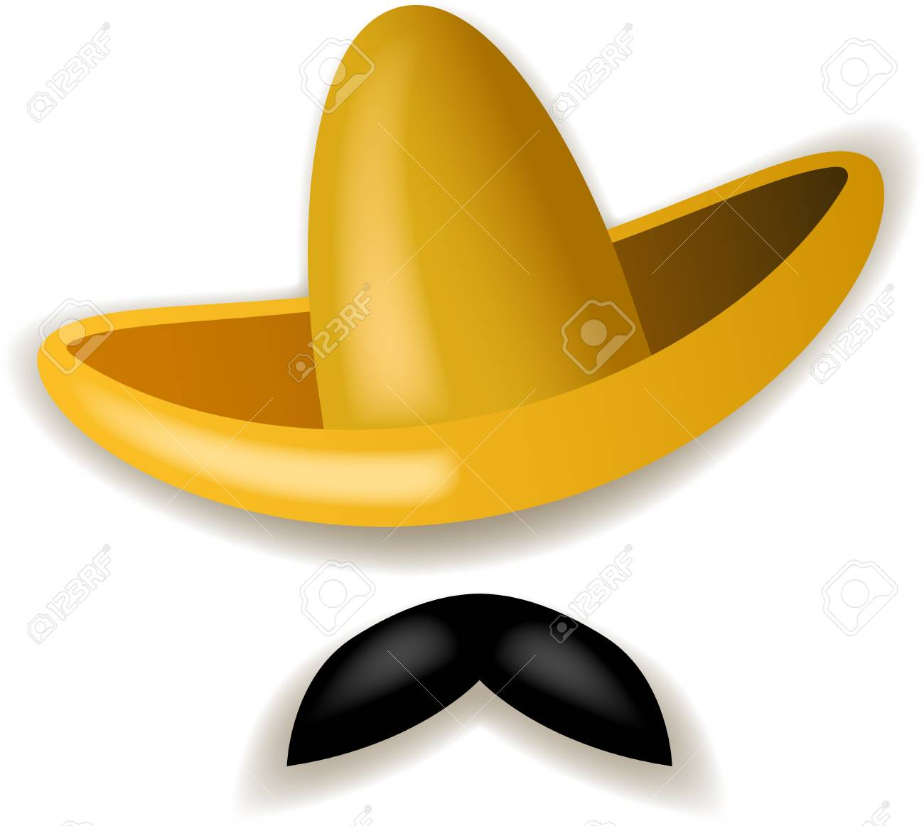 Foto de archivo - Ilustración del sombrero amarillo y del bigote negro  aislado en el fondo blanco. 8b87ecce549