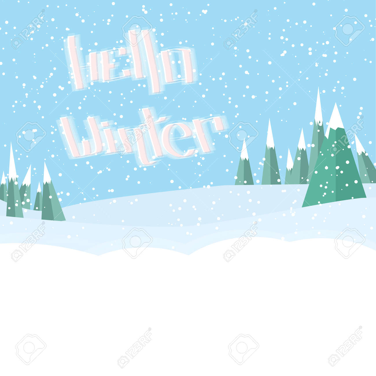 Snowing Christmas Tree.Hello Winter Lettering Winter Snowdrift Landscape Snowing Christmas