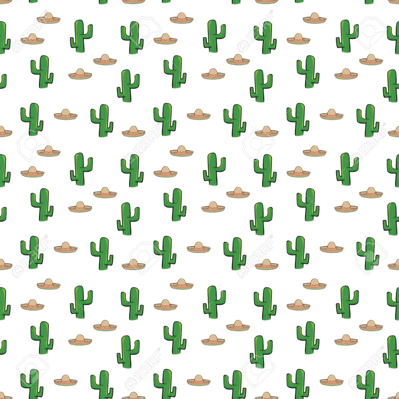 Seamless Pattern Mexican Sombrero Hat And Cactus On White Background