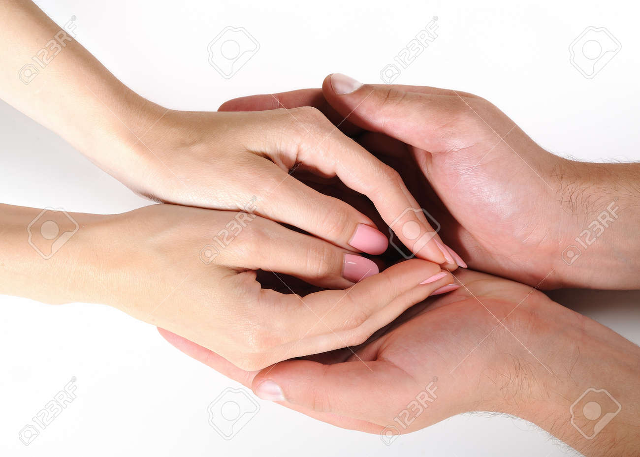 Woman and man hands togather isolated on white background Stock Photo - 7880458