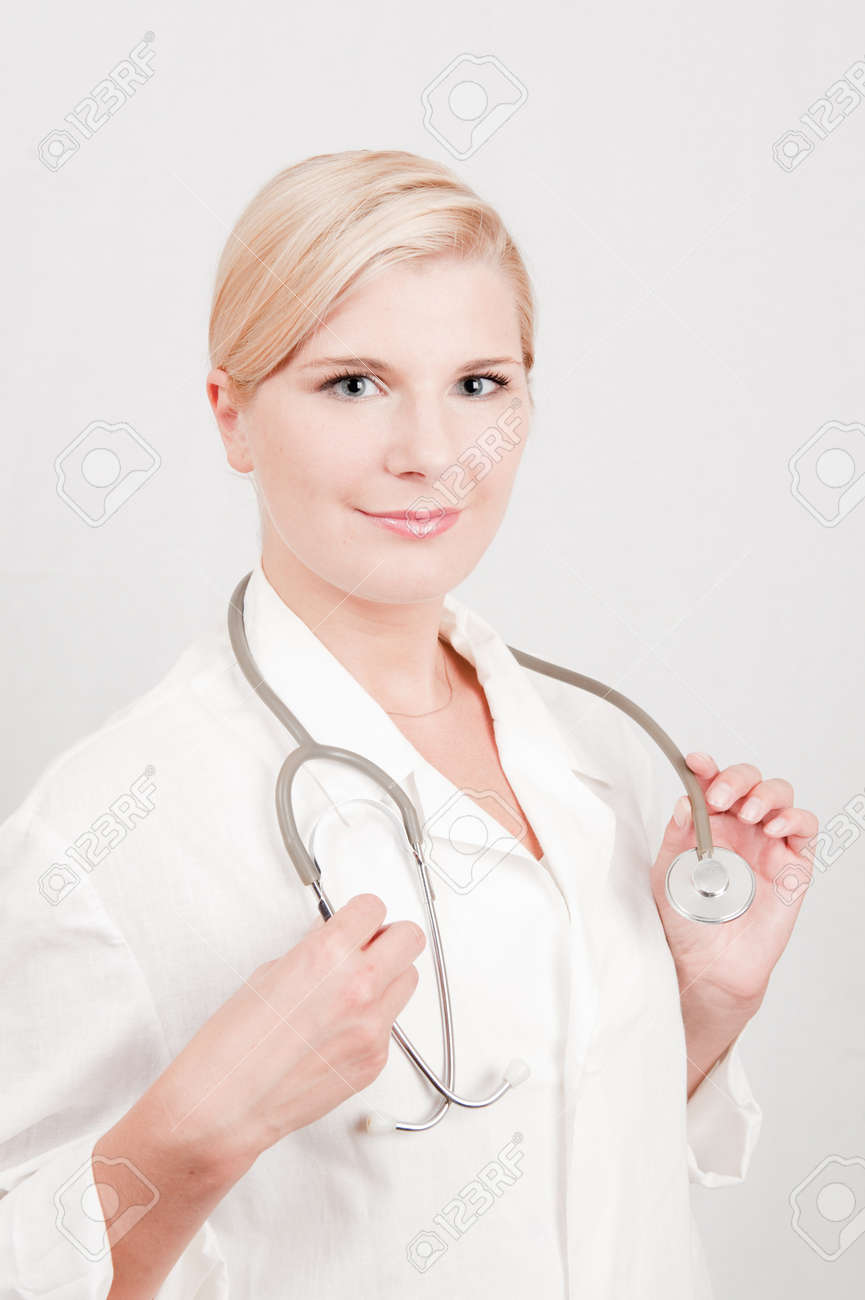 pretty female doctor with medical stethoscope Stock Photo - 8110152