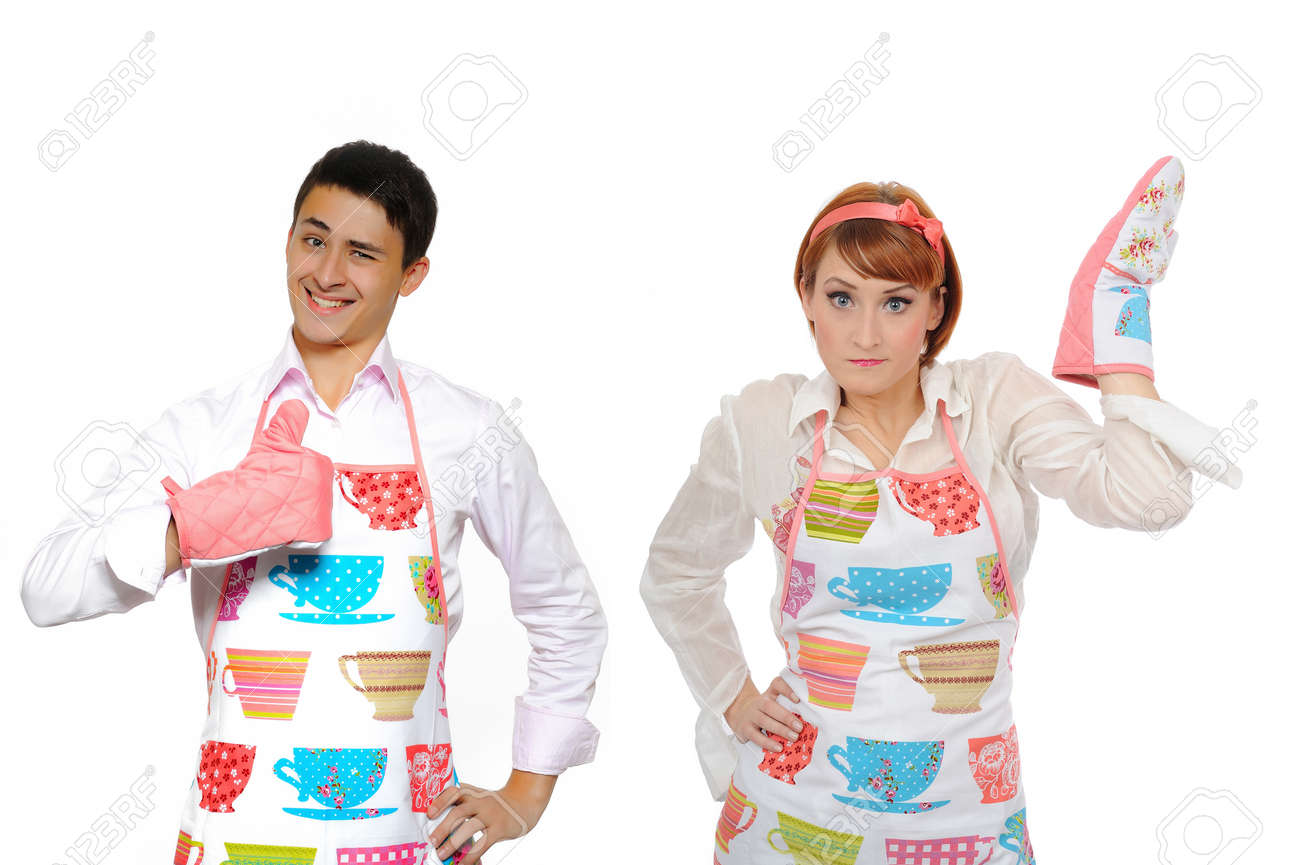 Funny collage with cooking couple - man in apron and one chef woman. isolated on white background Stock Photo - 8244226