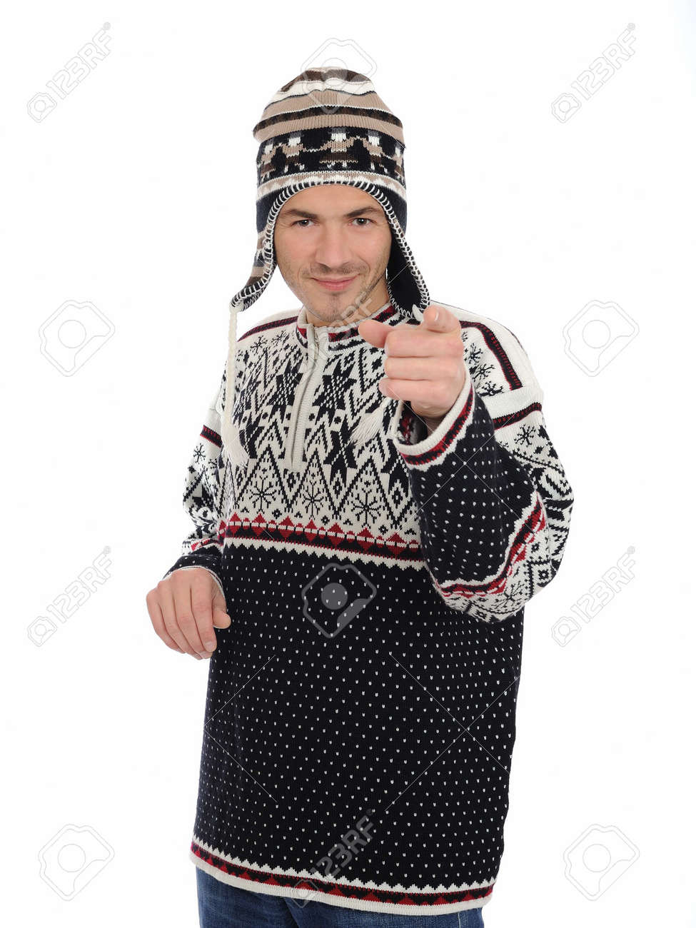 Funny winter man in warm hat and clothes smiling. isolated on white background Stock Photo - 8328370