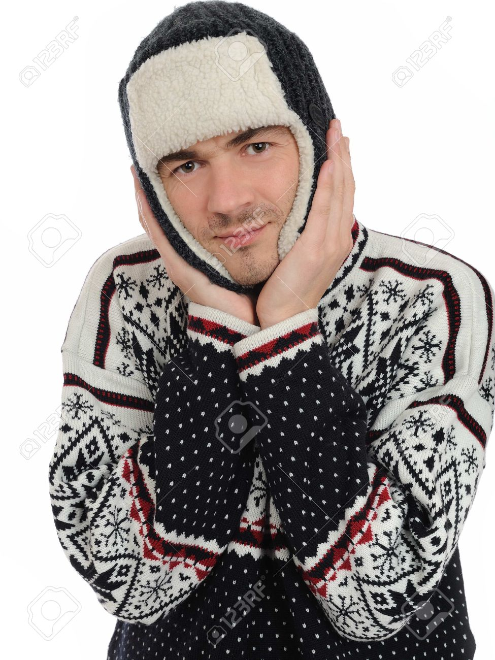 Funny winter man in warm hat and clothes. isolated on white background Stock Photo - 8328429