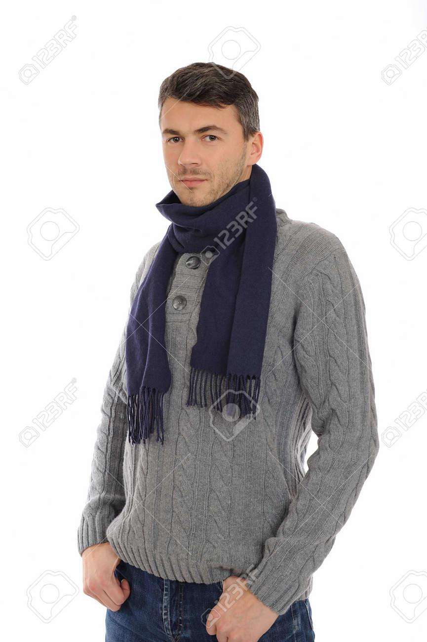 cc163c901cd Foto de archivo - Positivo apuesto joven hombre en ropa casual de invierno  cálido pensando. aislados en fondo blanco