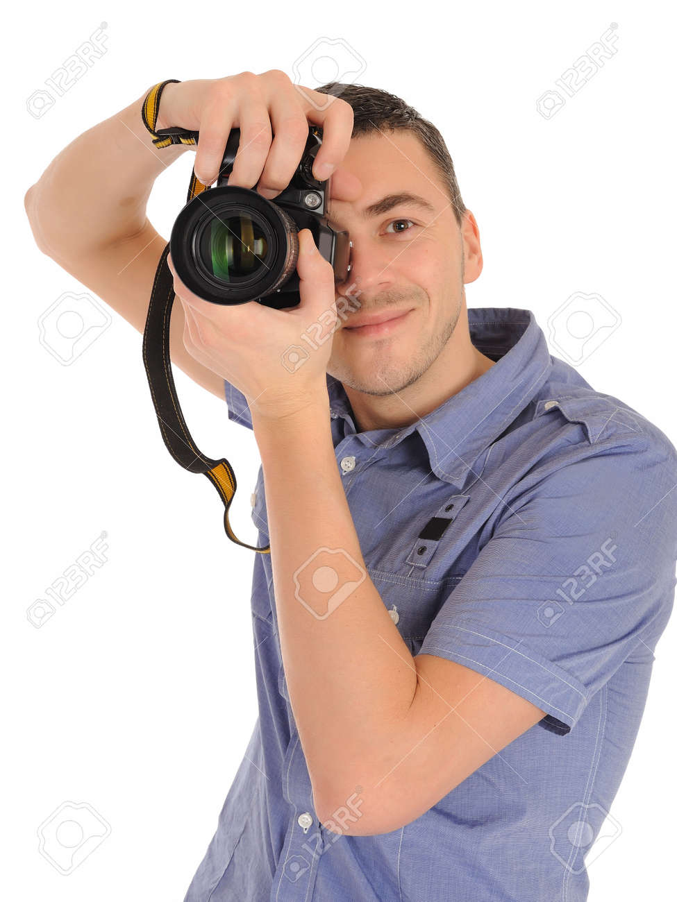 professional male photographer taking picture . isolated on white background - 8613305