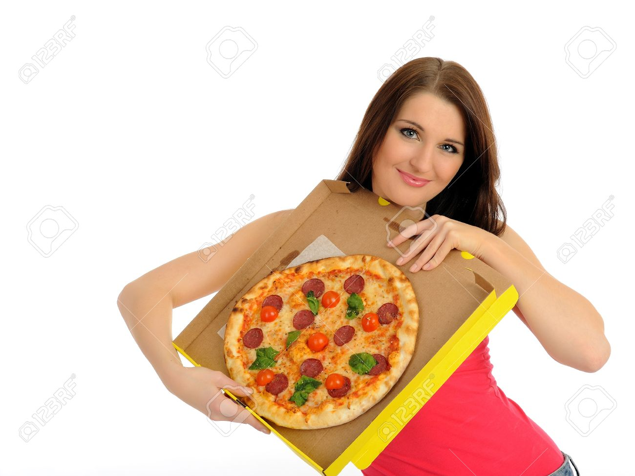 Pretty young casual woman with tasty pizza in delivery paper box. isolated on white background Stock Photo - 8667238