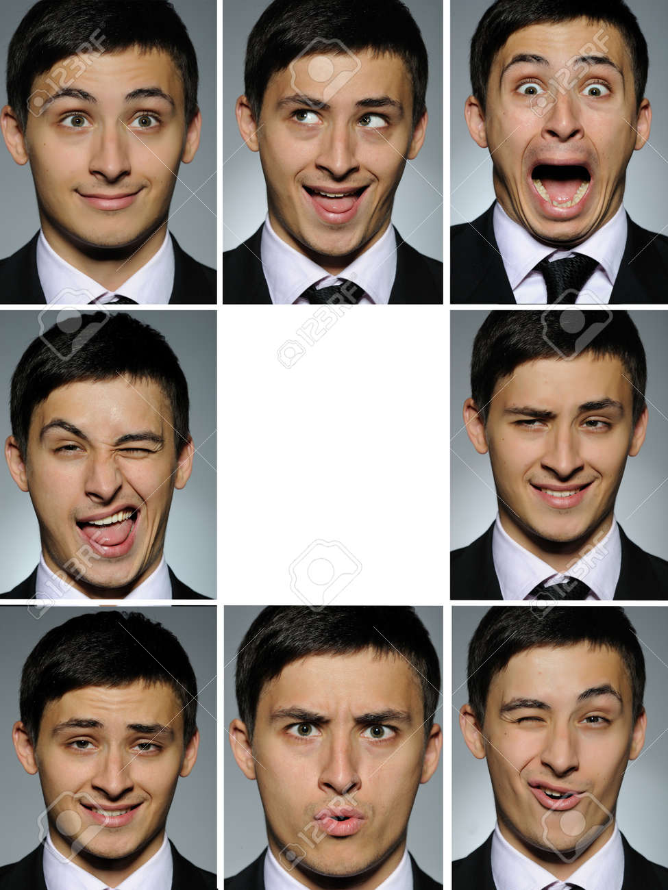 Collage group picture of many business man facial expressions. blank space for text Stock Photo - 8871893