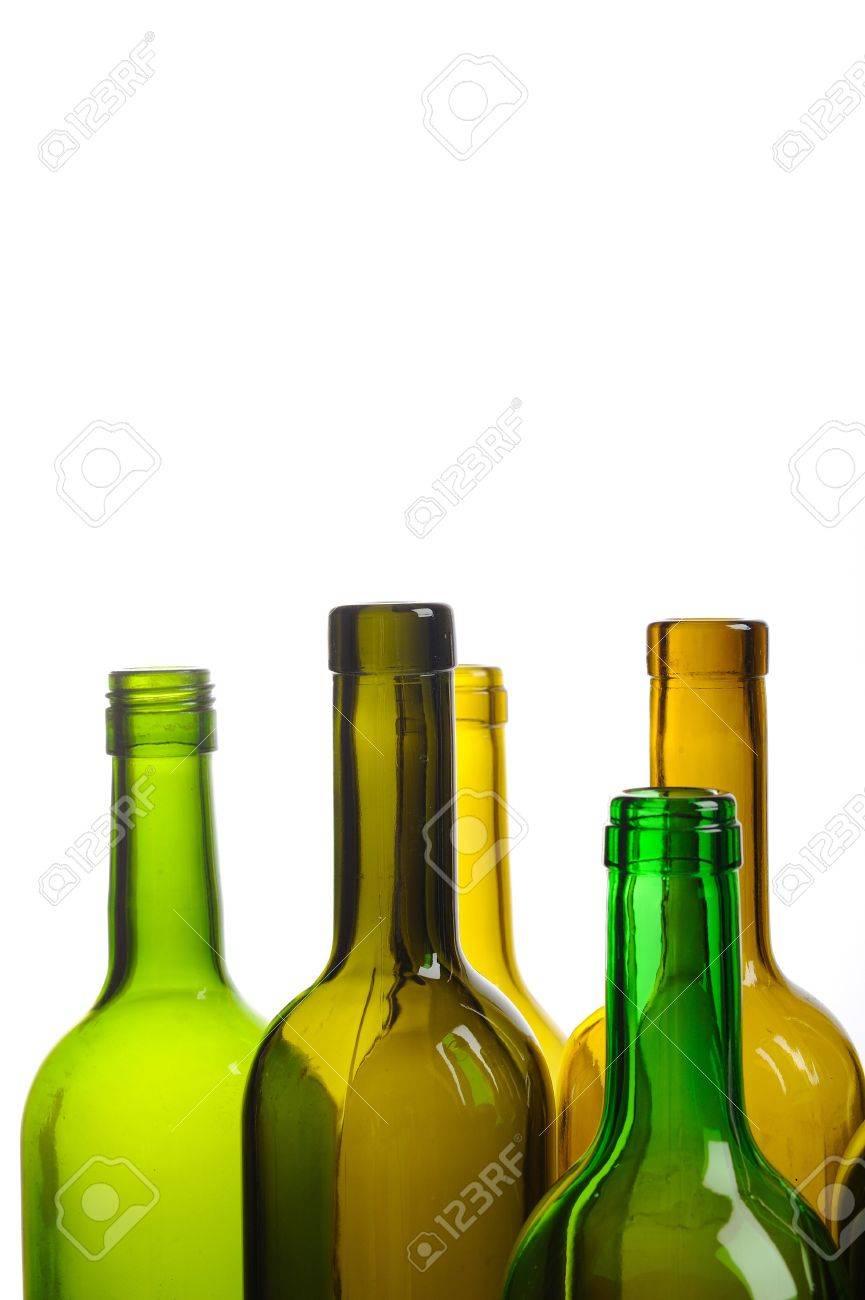 Many empty green wine bottles isolated on white background Stock Photo - 9159809