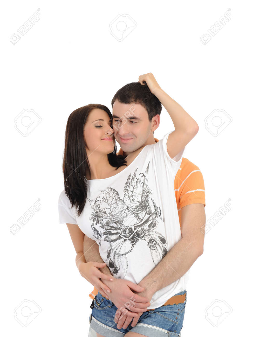 sweet young summer couple in love having fun. isolated Stock Photo - 9276992