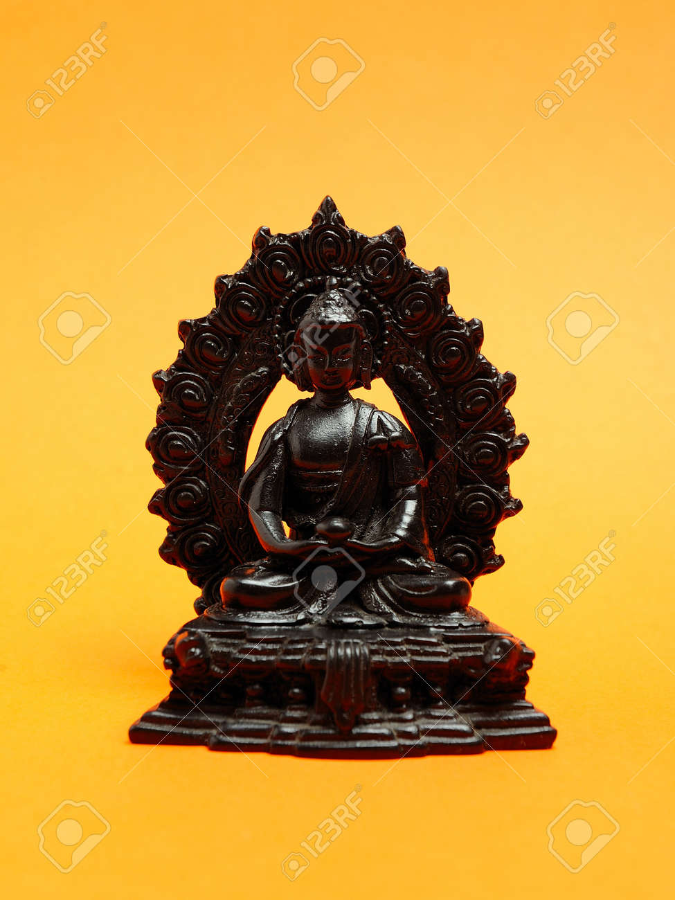 Statue of ancient meditating monk made of wood Stock Photo - 11079815