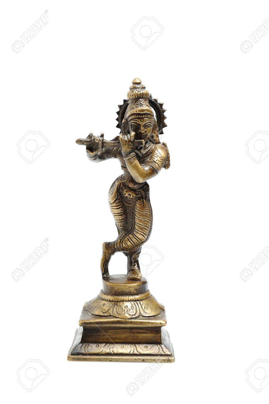 Ancient indian figure of Krishna God isolated Stock Photo - 11079816